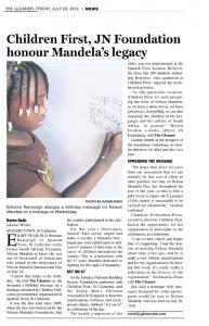 Children First, JN Foundation honour Mandela's legacy