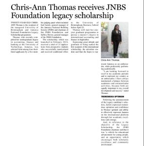 Chris-Ann Thomas receives JNBS Foundation legacy scholarship