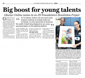Gleaner Online zooms in on JN Foundation's Resolution Project