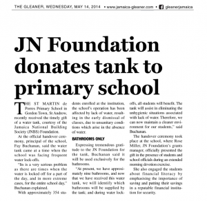 JN Foundation donates tank to primary school