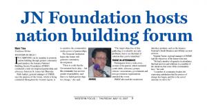 JN Foundation hosts nation building forum