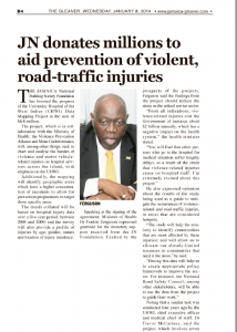 JN donates millions to aids prevention of violent, road-traffic injuries