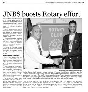 JNBS boosts Rotary effort