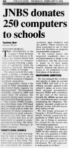 JNBS donates 250 computers to schools
