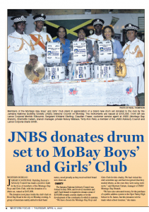 JNBS donates drum set to MoBay Boys' and Girls' Club