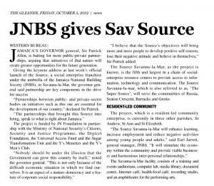 JNBS gives Sav Source