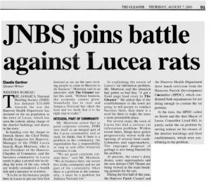 JNBS joins battle against Lucea rats