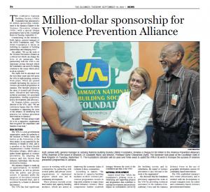 Million-dollar sponsorship for Violence Prevention Alliance