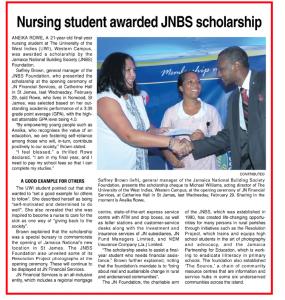 Nursing student awarded JNBS scholarship