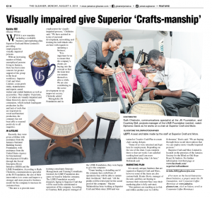Visually impaired give Superior 'Crafts-manship'