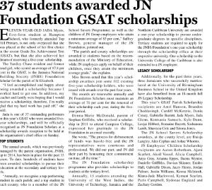 37 students awarded JN Foundation GSAT scholarship