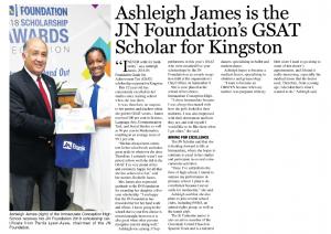 Ashleigh James is the JN Foundtion's GSAT scholar for Kingston
