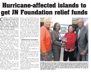 Hurricane-affected islands to get JN Foundation relief funds