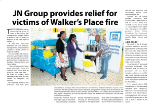 JN Group provides relief for victims of Walker's Place fire