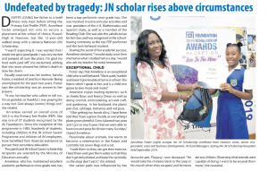 Undefeated by tragedy – JN Scholar rises above circumstances