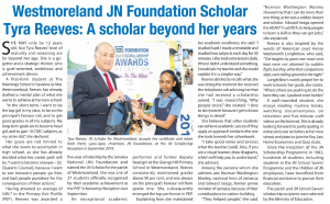 Westmoreland JN Foundation Scholar – Tyra Reeves – A scholar beyond her years