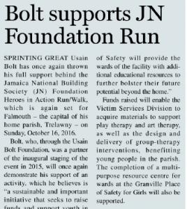 Charity Run/Walk – Bolt supports JN Foundation Run