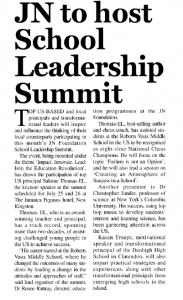 JN to host School Leadership Summit